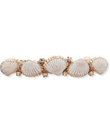 Gold-Tone Crystal & Shell Hair Barrette