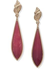 Gold-Tone & Stone Sea-Motif Drop Earrings