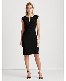 Petite Faux-Wrap Jersey Dress