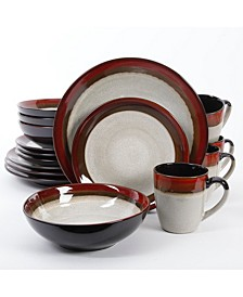 Couture Bands 16-piece Dinnerware Set Red, Service for 4