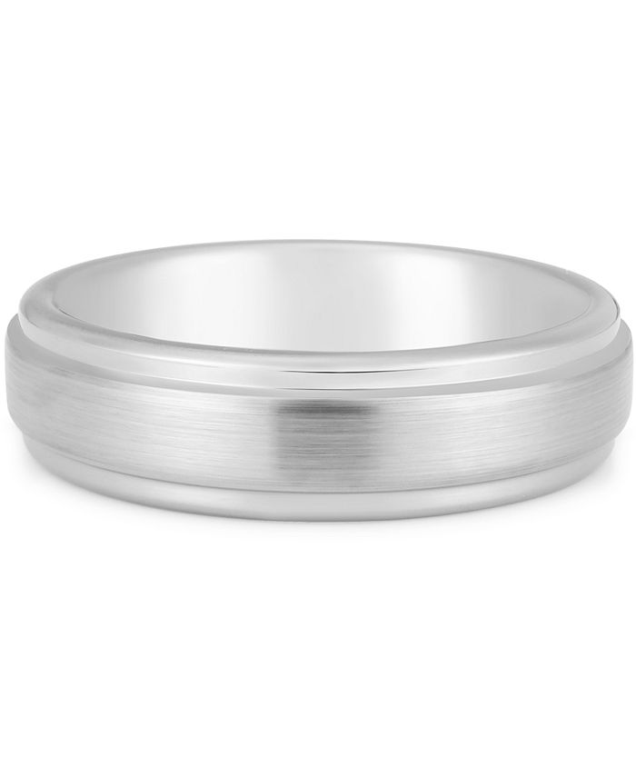 Macy's - Men's Step Edge Band in White Ion-Plated Tantalum