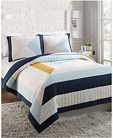 Diamond Patchwork 3-Piece Full/Queen Quilt Set