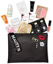 Receive a Free Cosmetics Bag with 12 pc. Sampler with any $65 or more Qualifying Cosmetics Purchase