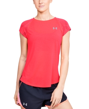 Take the literal or competitive heat in stride in this running top from Under Armour. Knit-in ventilation and a sweeping keyhole at the back keep the cool air flowing.