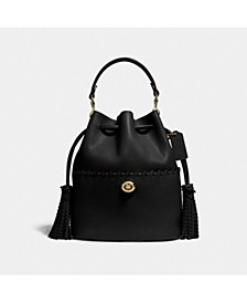 Lora Leather Bucket Bag With Whipstitch Detail