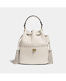 COACH Lora Leather Bucket Bag With Whipstitch Detail
