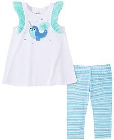 Baby Girls 2-Pc. Narwhale Tunic & Striped Leggings Set