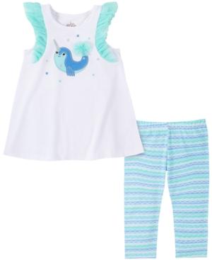 Kids Headquarters Baby Girls 2-Pc. Narwhale Tunic & Striped Leggings Set