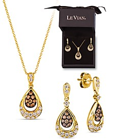 2-Pc. Set Chocolate Diamond (3/8 ct. t.w.) & Nude Diamond (5/8 ct. t.w.) Pendant Necklace & Matching Drop Earrings in 14k Gold