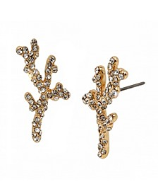 Pave Coral Gold-Tone Stud Earrings
