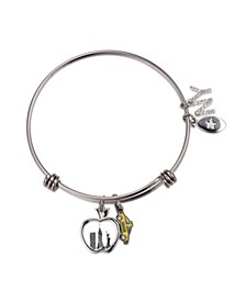 Fine Silver Plated New York Apple Charm in Stainless Steel Bracelet