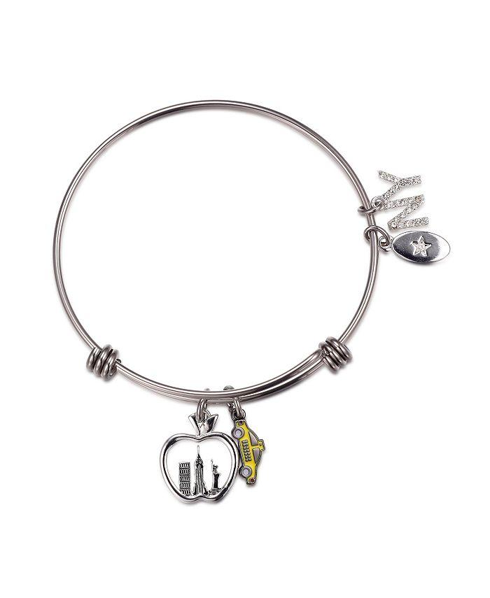 Unwritten - Fine Silver Plated New York Apple Charm in Stainless Steel Bracelet