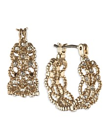 """Gold-Tone Small Pavé Lace Hoop Earrings, 0.62"""""""