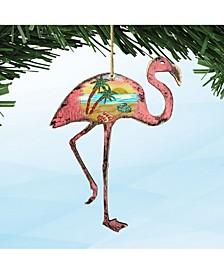 Rustic Flamingo Wooden Ornaments Set of 2