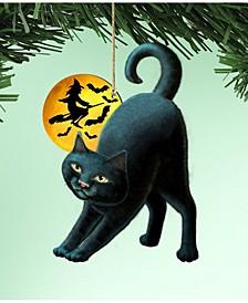 Spooky Night Black Cat 3 Wooden Ornaments Set of 2