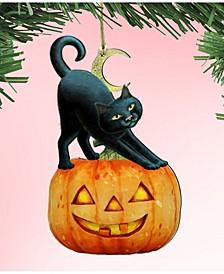 Spooky Halloween Cat Wooden Ornaments Set of 2