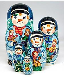 Mr. Snowman 5 Piece Russian Matryoshka Nested Doll Set
