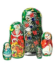 Mr. and Mrs. Christmas Set 3 Russian Matryoshka Nested Doll