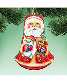 Santa Ropy Poly Wooden Christmas Ornament, Set of 2