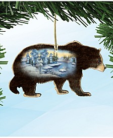 Winter Scenic Black Bear Wooden Christmas Ornament Set of 2