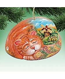 Kitten Wooden Ornament Set of 2