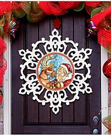Reindeer Ride Snowflake Christmas Door Hanger