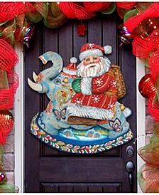 Santa on Elephant Wall Decor Christmas Door Hanger