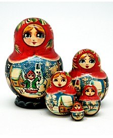 Snowman 5 Piece Russian Matryoshka Wooden Nested Dolls Set