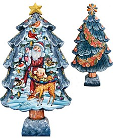 Hand Painted Christmas Tree Santa With Kids Figurine
