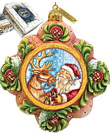 Hand Painted Scenic Ornament Santa with Reindeer