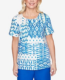 Plus Size Ikat Patchwork Short Sleeve Knit Top