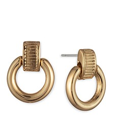 Gold-Tone Textured Link Drop Earrings