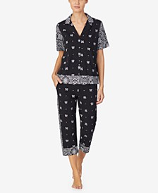Women's Short Sleeve Top & Capri Pajama Set