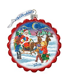 Happy Holidays to All Wreath Glass Ornament
