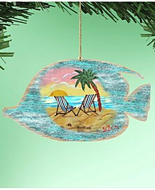 Rustic Tropical Fish Wooden Ornaments, Set of 2