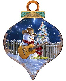 Guitar Snowman Smile Ball Wooden Ornaments, Set of 2