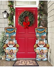 Old World Nutcracker Large Free Standing Wooden Santa  Garden Decor, Set of 2