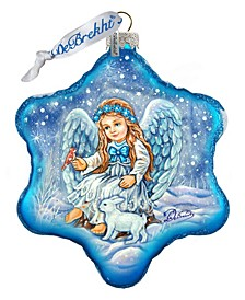 Baby Angel with Bunny Holiday Splendor Glass Ornament