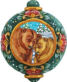 Hand Painted Alaska Grizzly Bear Scenic Ornament