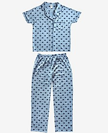 Cookie Monster Notched Collar Women's Pajama 2 Piece Set