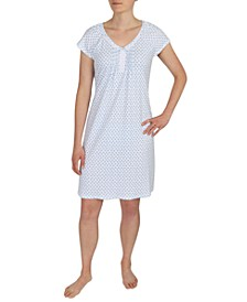 Printed Lace-Trim Nightgown