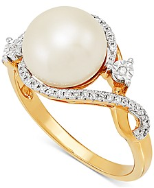 Cultured Freshwater Pearl (9mm) & Diamond (1/10 ct. t.w.) in 10k Gold