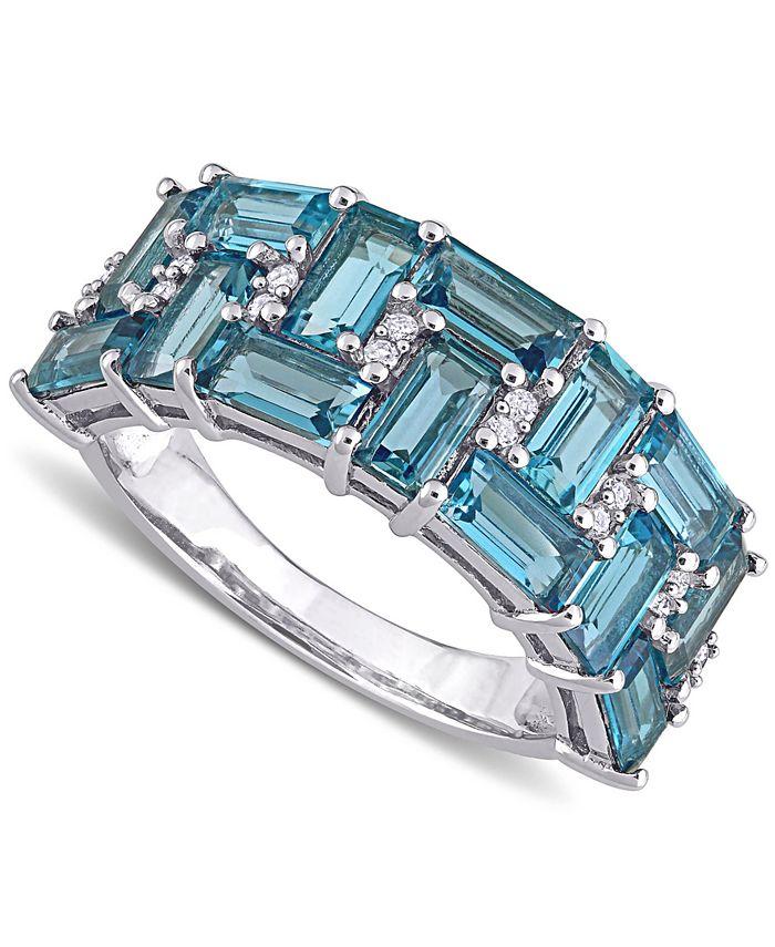Macy's - Blue Topaz (3-5/8 ct. t.w.) & Diamond (1/10 ct. t.w.) Cluster Ring in 10k White Gold