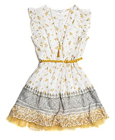 Big Girls Floral-Print 4 Piece Dress Set