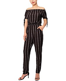 Striped Off-The-Shoulder Tie-Sleeve Jumpsuit