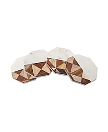 Set of 4 Marble & Wood Coasters