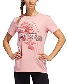 adidas Women's Cotton Floral Logo T-Shirt