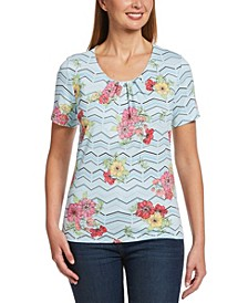 Gellone Floral Print Short Sleeve Top