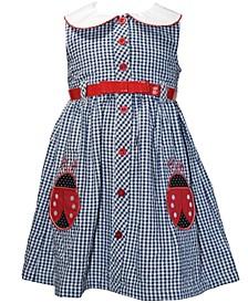 Little Girls Belted Seersucker Ladybug Dress