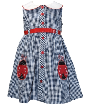 Blueberi Boulevard Little Girls Belted Seersucker Ladybug Dress